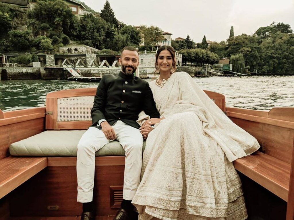 Sonam Kapoor with husband Anand Ahuja in a boat